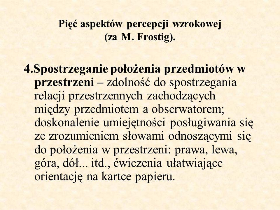Pięć aspektów percepcji wzrokowej (za M.Frostig).
