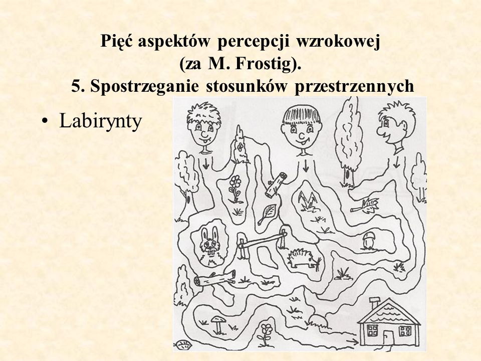 Pięć aspektów percepcji wzrokowej (za M. Frostig). 5. Spostrzeganie stosunków przestrzennych Labirynty