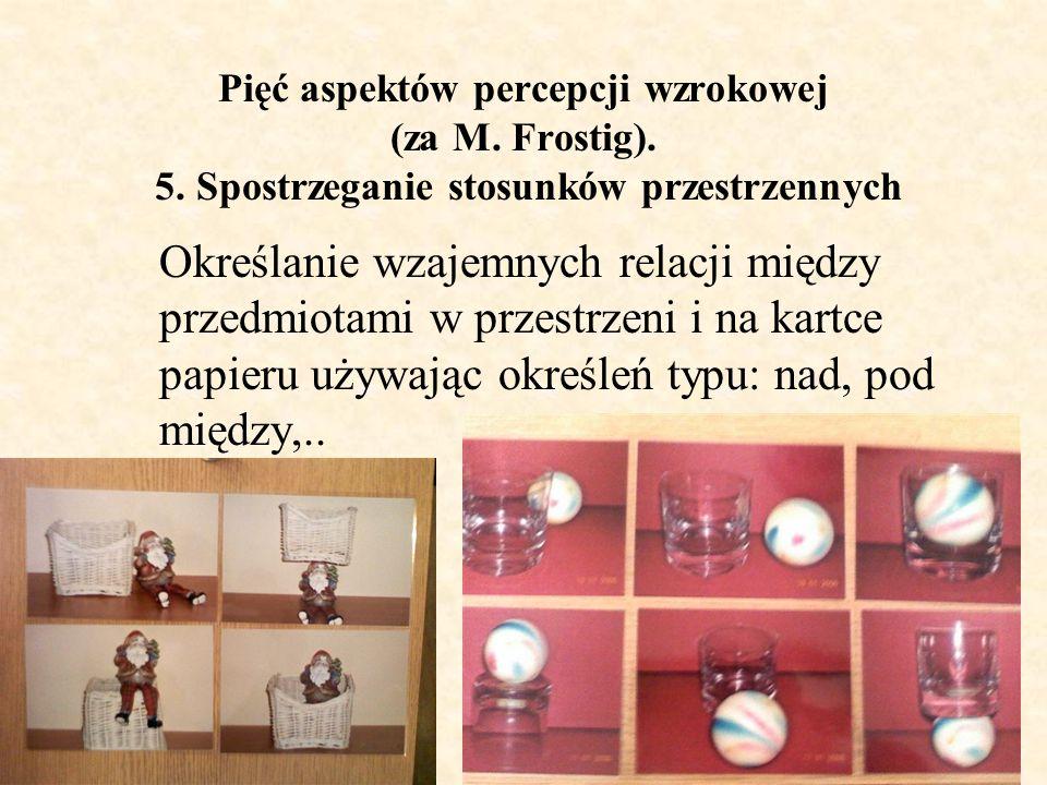 Pięć aspektów percepcji wzrokowej (za M. Frostig). 5. Spostrzeganie stosunków przestrzennych Określanie wzajemnych relacji między przedmiotami w przes