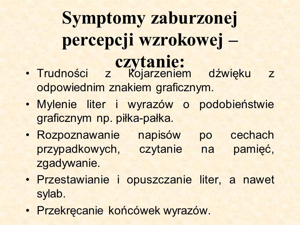 Symptomy zaburzonej percepcji wzrokowej – czytanie: Trudności z kojarzeniem dźwięku z odpowiednim znakiem graficznym. Mylenie liter i wyrazów o podobi