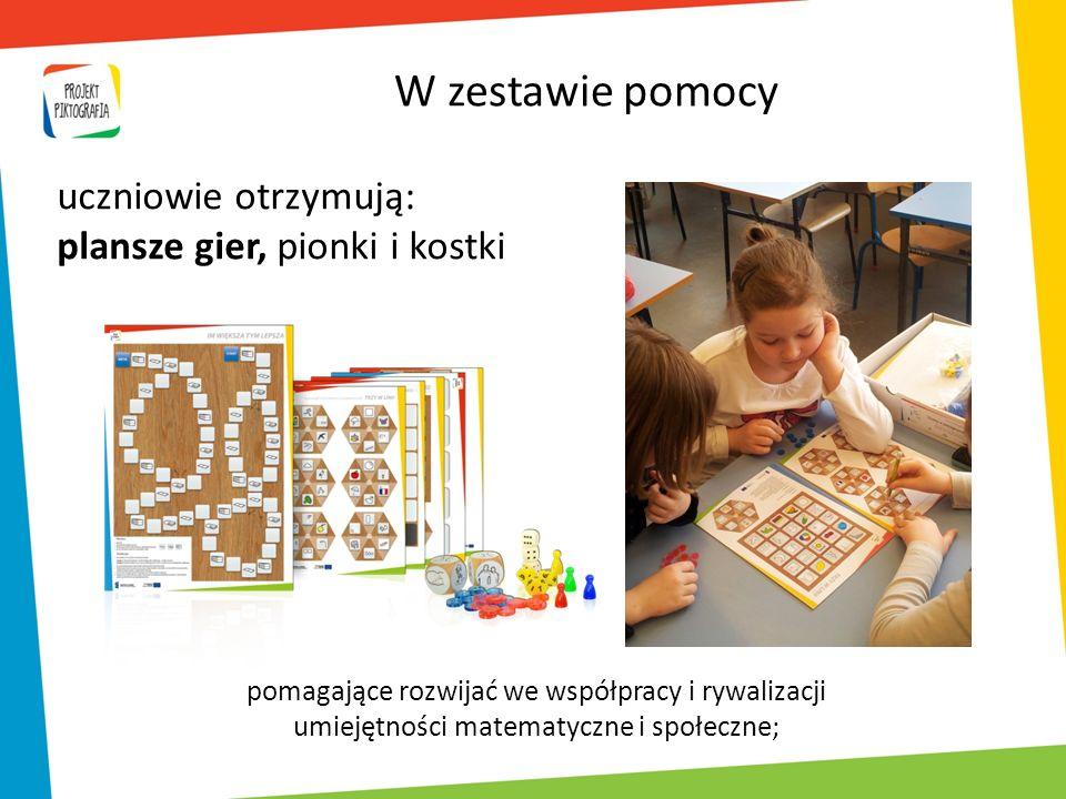 pomagające rozwijać we współpracy i rywalizacji umiejętności matematyczne i społeczne; uczniowie otrzymują: plansze gier, pionki i kostki W zestawie p