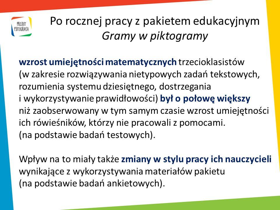 Po rocznej pracy z pakietem edukacyjnym Gramy w piktogramy wzrost umiejętności matematycznych trzecioklasistów (w zakresie rozwiązywania nietypowych z