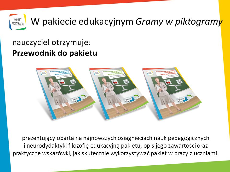 W pakiecie edukacyjnym Gramy w piktogramy prezentujący opartą na najnowszych osiągnięciach nauk pedagogicznych i neurodydaktyki filozofię edukacyjną p