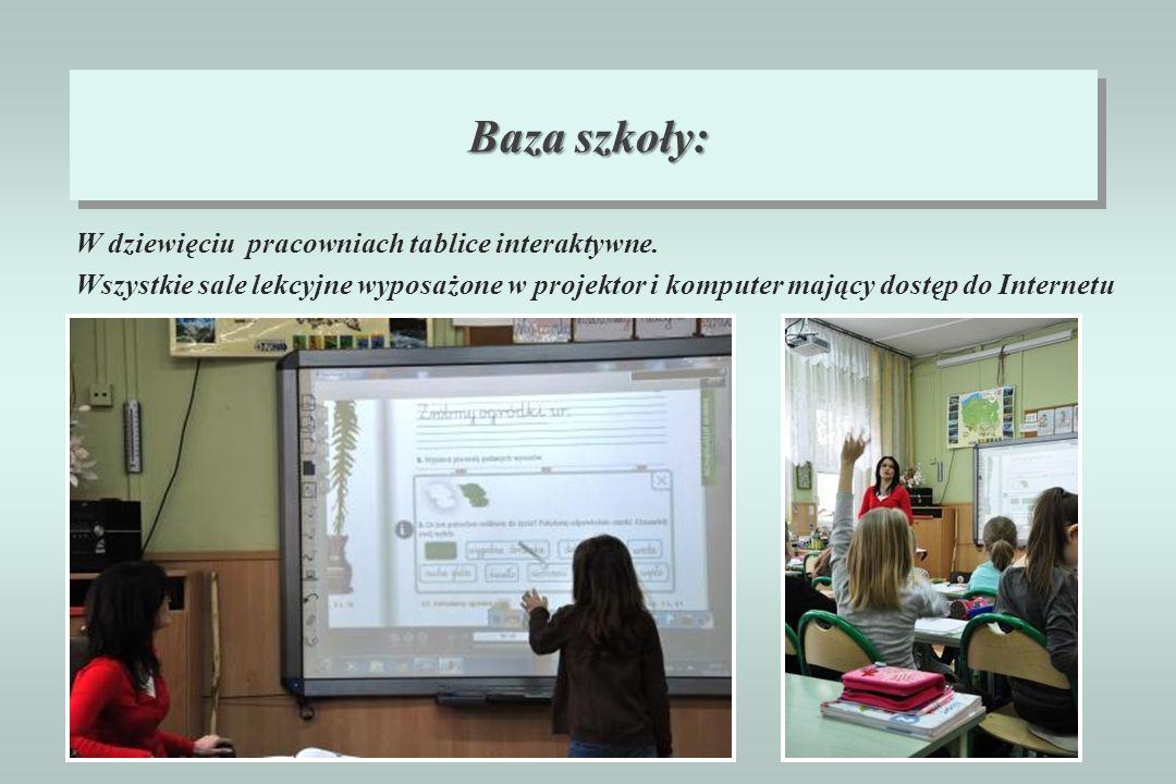 W dziewięciu pracowniach tablice interaktywne. Wszystkie sale lekcyjne wyposażone w projektor i komputer mający dostęp do Internetu Baza szkoły: