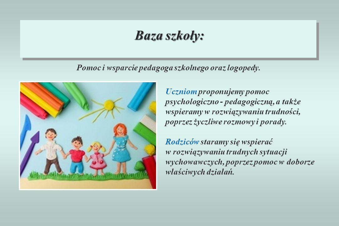 Pomoc i wsparcie pedagoga szkolnego oraz logopedy. Baza szkoły: Uczniom proponujemy pomoc psychologiczno - pedagogiczną, a także wspieramy w rozwiązyw