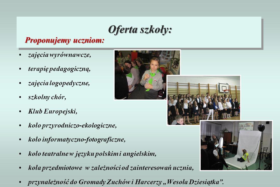 Proponujemy uczniom: zajęcia wyrównawcze, terapię pedagogiczną, zajęcia logopedyczne, szkolny chór, Klub Europejski, koło przyrodniczo-ekologiczne, ko