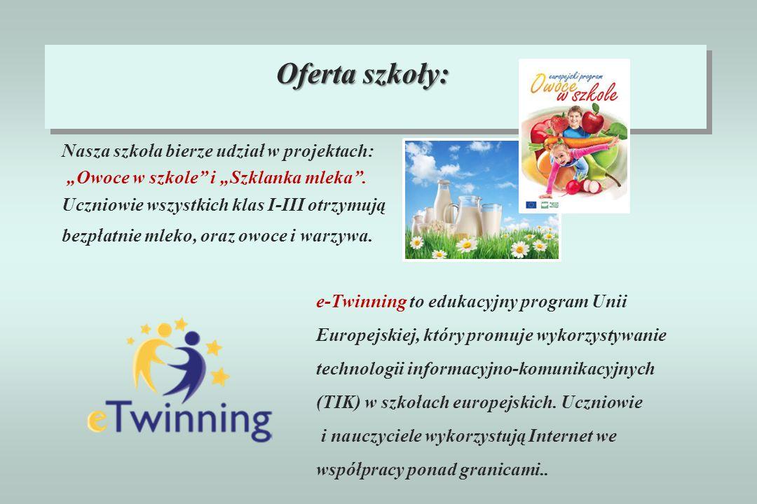 Nasza szkoła bierze udział w projektach: Owoce w szkole i Szklanka mleka. Uczniowie wszystkich klas I-III otrzymują bezpłatnie mleko, oraz owoce i war