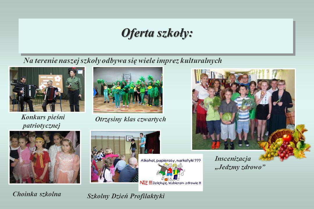 Oferta szkoły: Na terenie naszej szkoły odbywa się wiele imprez kulturalnych Choinka szkolna Konkurs pieśni patriotycznej Otrzęsiny klas czwartych Szk