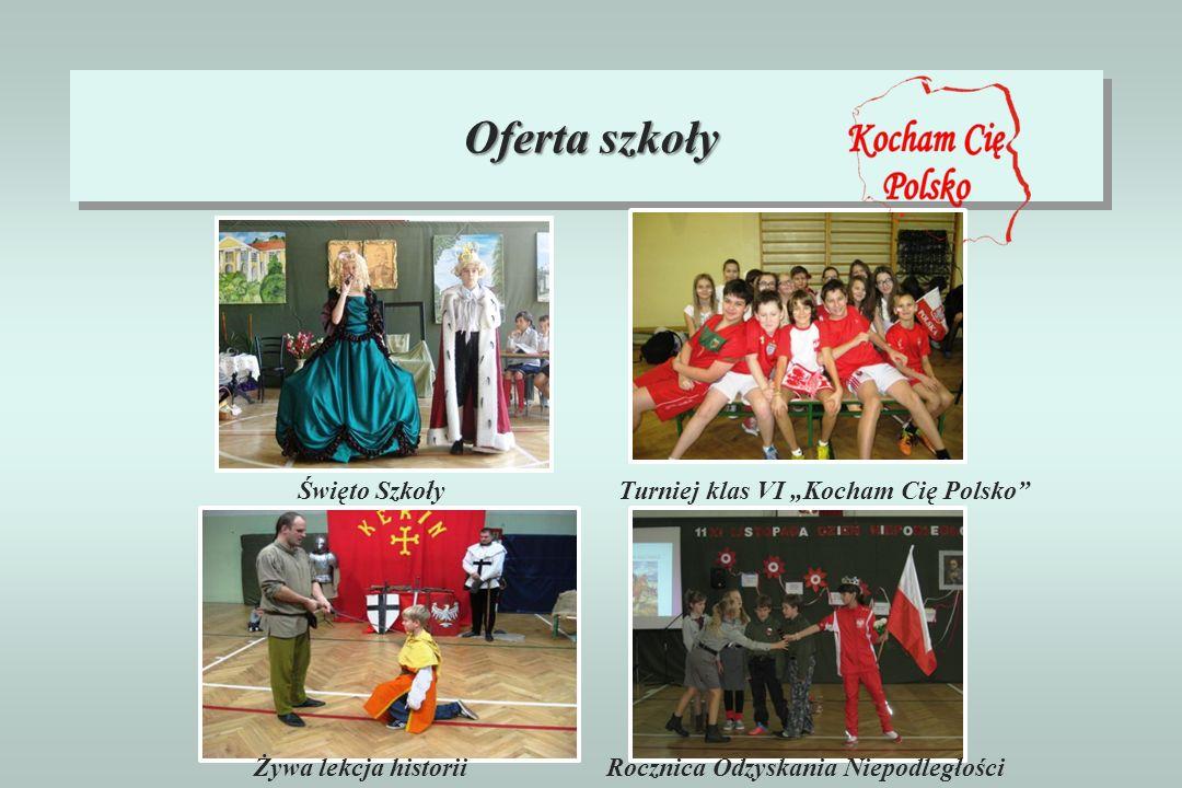 Oferta szkoły Święto Szkoły Żywa lekcja historiiRocznica Odzyskania Niepodległości Turniej klas VI Kocham Cię Polsko