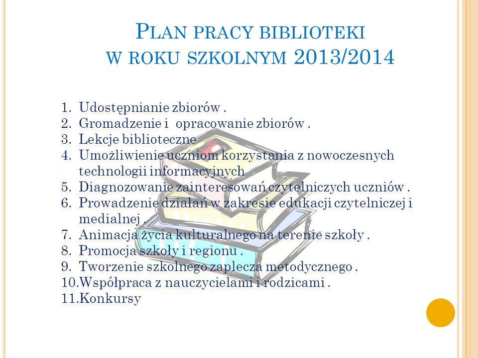 P LAN PRACY BIBLIOTEKI W ROKU SZKOLNYM 2013/2014 1.Udostępnianie zbiorów.