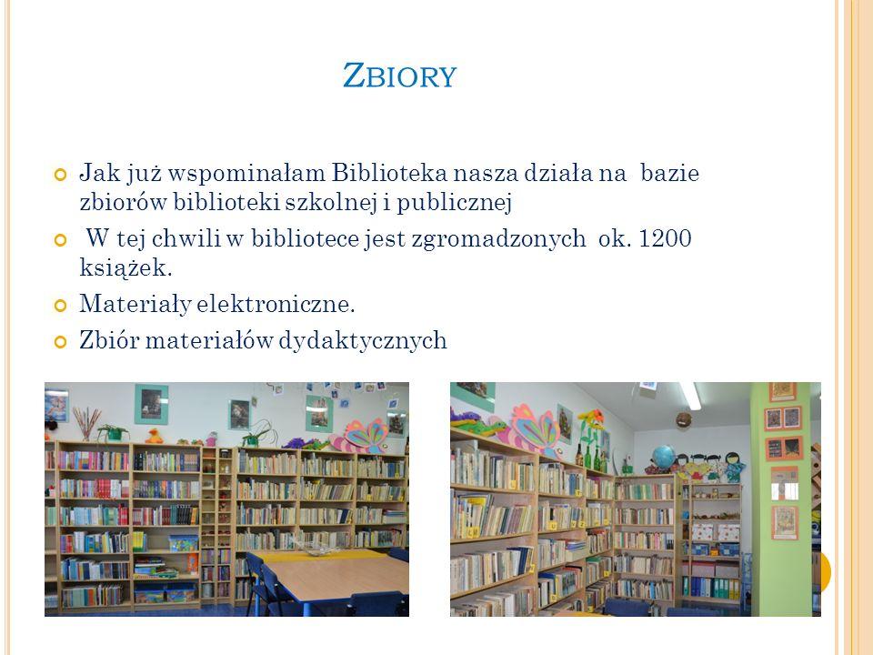 Z BIORY Jak już wspominałam Biblioteka nasza działa na bazie zbiorów biblioteki szkolnej i publicznej W tej chwili w bibliotece jest zgromadzonych ok.