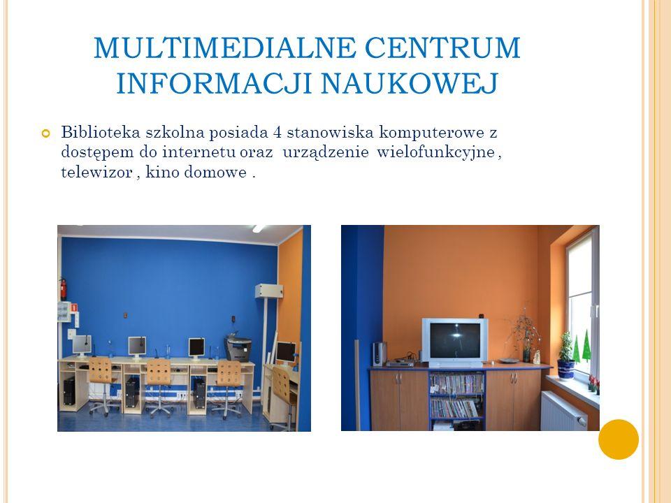 MULTIMEDIALNE CENTRUM INFORMACJI NAUKOWEJ Biblioteka szkolna posiada 4 stanowiska komputerowe z dostępem do internetu oraz urządzenie wielofunkcyjne, telewizor, kino domowe.
