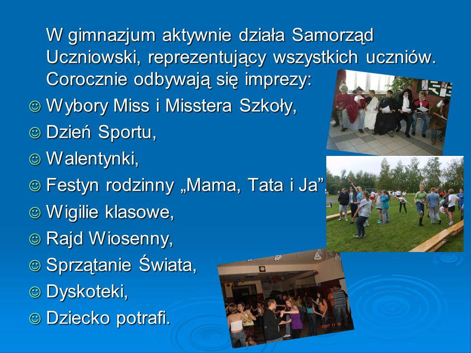 W gimnazjum aktywnie działa Samorząd Uczniowski, reprezentujący wszystkich uczniów. Corocznie odbywają się imprezy: Wybory Miss i Misstera Szkoły, Wyb