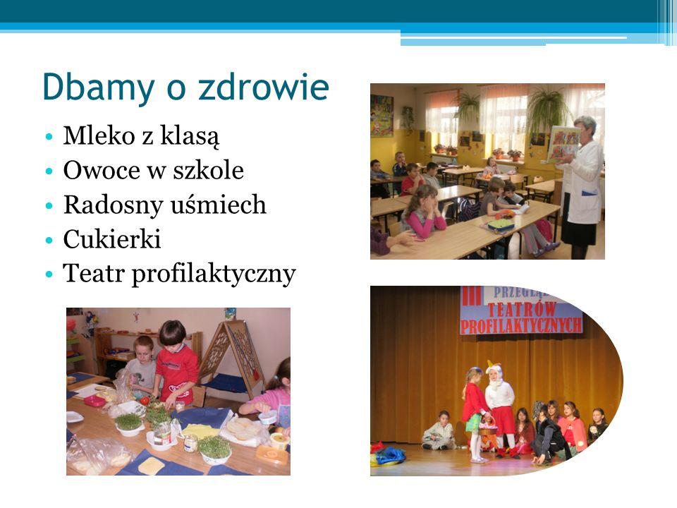 Dbamy o zdrowie Mleko z klasą Owoce w szkole Radosny uśmiech Cukierki Teatr profilaktyczny