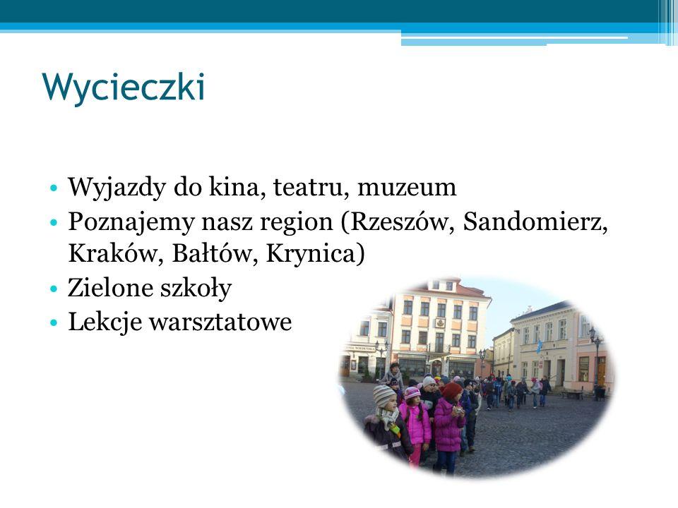 Wycieczki Wyjazdy do kina, teatru, muzeum Poznajemy nasz region (Rzeszów, Sandomierz, Kraków, Bałtów, Krynica) Zielone szkoły Lekcje warsztatowe