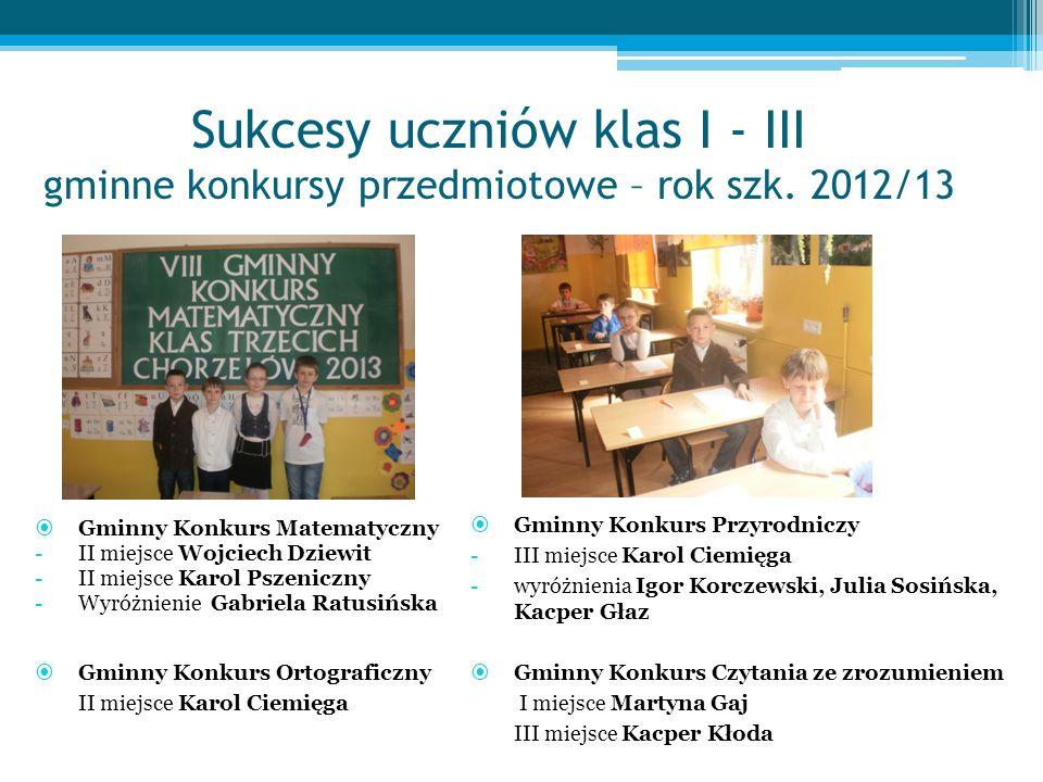 Sukcesy uczniów klas I - III gminne konkursy przedmiotowe – rok szk.