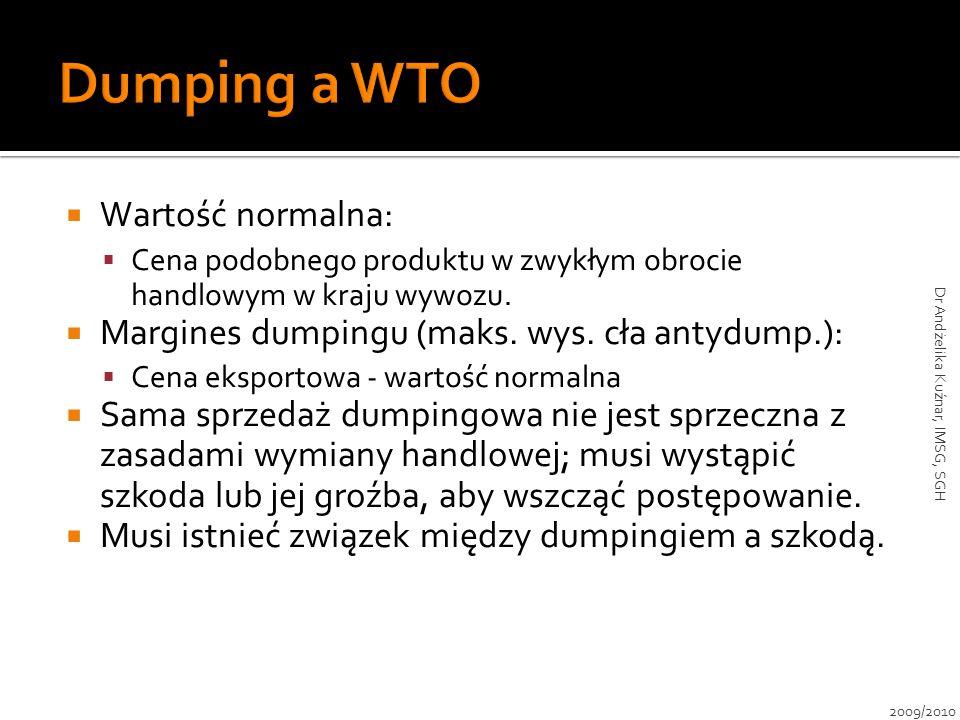 Wartość normalna: Cena podobnego produktu w zwykłym obrocie handlowym w kraju wywozu. Margines dumpingu (maks. wys. cła antydump.): Cena eksportowa -