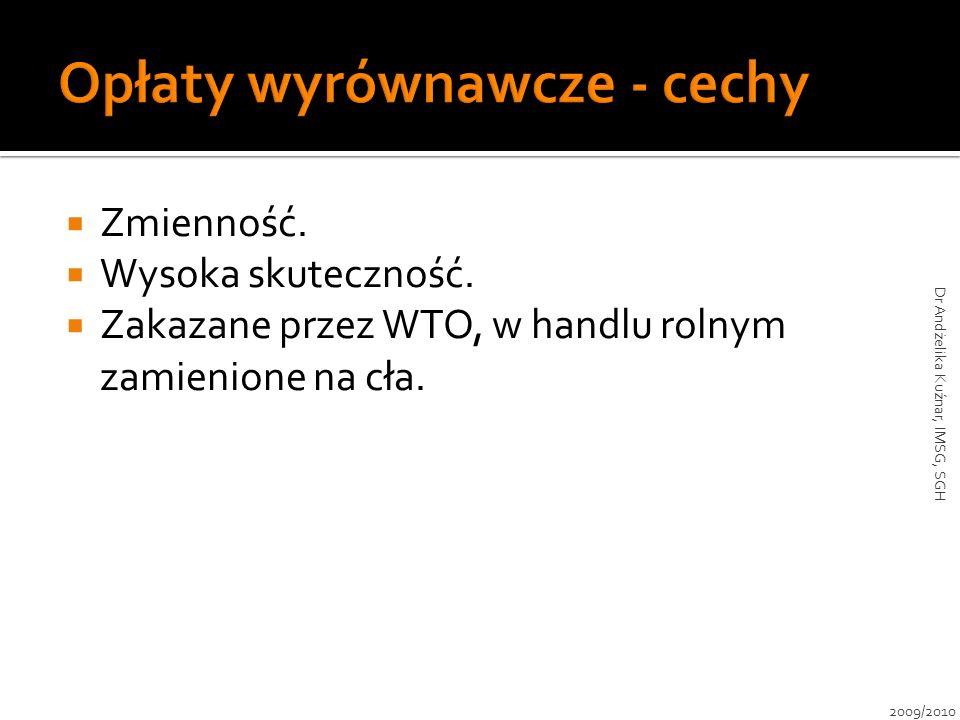 Zmienność. Wysoka skuteczność. Zakazane przez WTO, w handlu rolnym zamienione na cła. 2009/2010 Dr Andżelika Kuźnar, IMSG, SGH