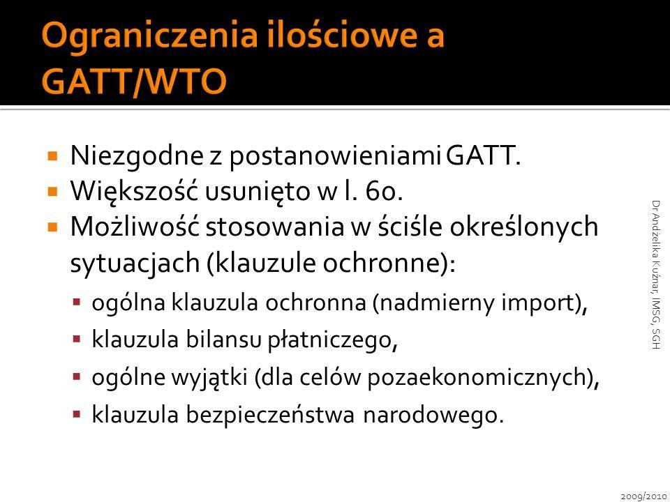 Niezgodne z postanowieniami GATT. Większość usunięto w l. 60. Możliwość stosowania w ściśle określonych sytuacjach (klauzule ochronne): ogólna klauzul