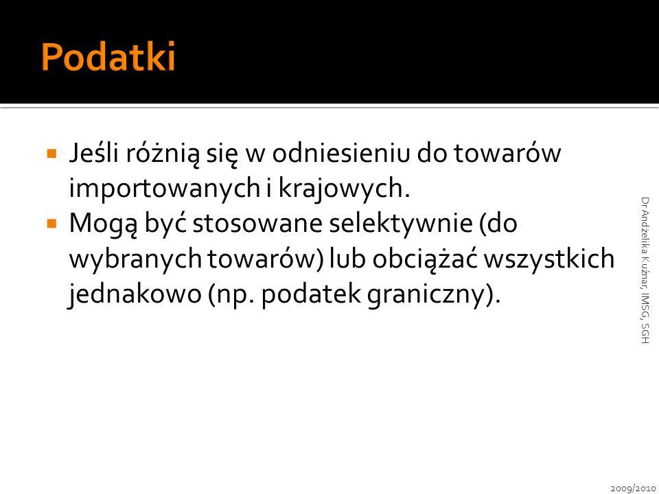 Strata konsumentów: a+b+c+d Korzyści producentów: a Korzyści eksportera: c Straty puste: b+d Straty netto gospodarki: b+d+c VER abcd Kraj – importer wymuszający VER-y 2009/2010 Dr Andżelika Kuźnar, IMSG, SGH