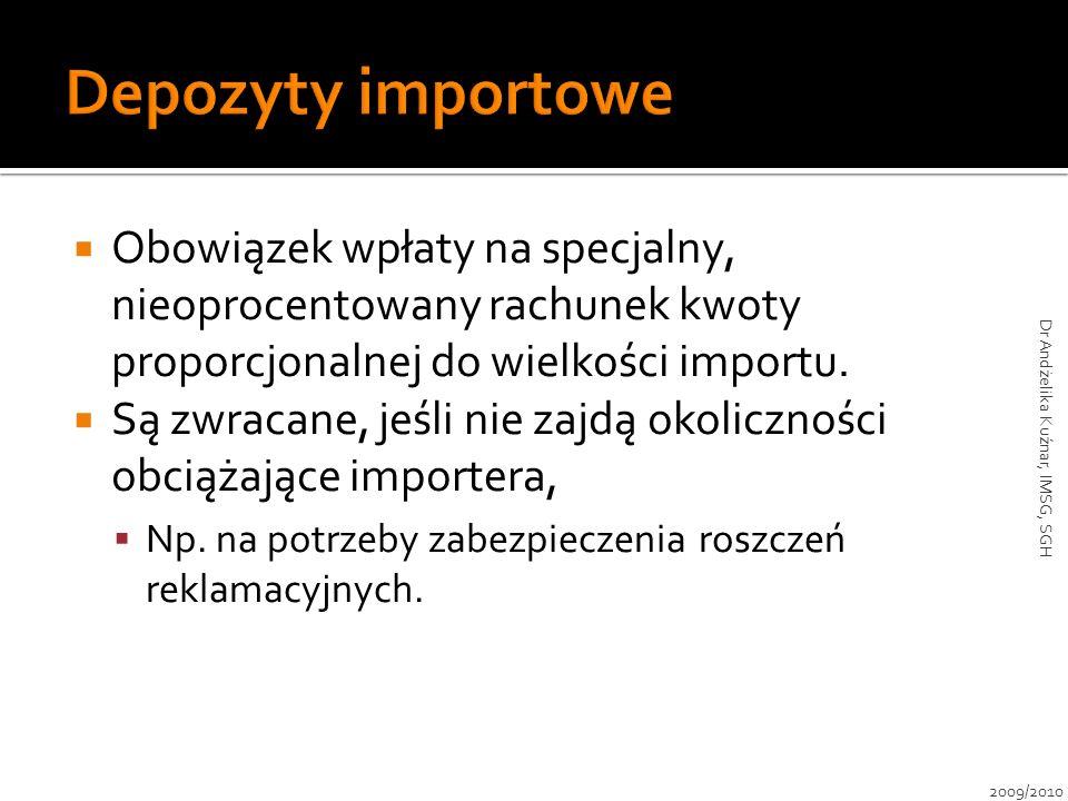 Obowiązek wpłaty na specjalny, nieoprocentowany rachunek kwoty proporcjonalnej do wielkości importu. Są zwracane, jeśli nie zajdą okoliczności obciąża