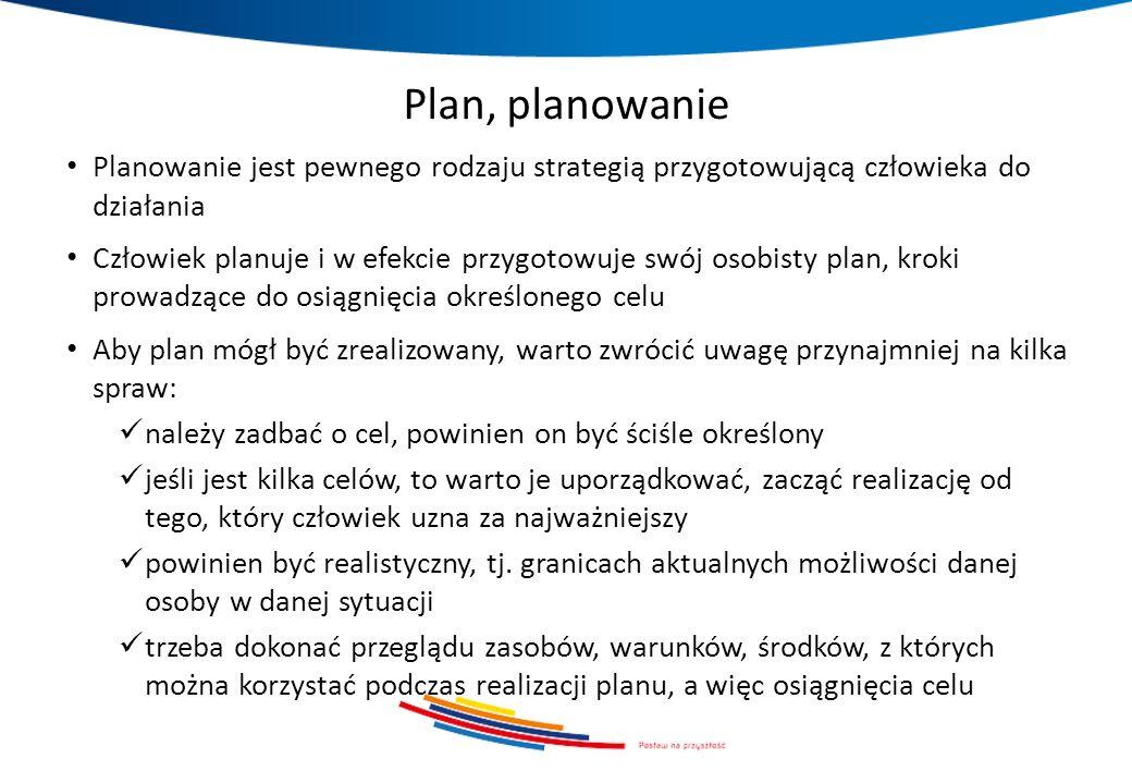 Plan, planowanie Planowanie jest pewnego rodzaju strategią przygotowującą człowieka do działania Człowiek planuje i w efekcie przygotowuje swój osobis