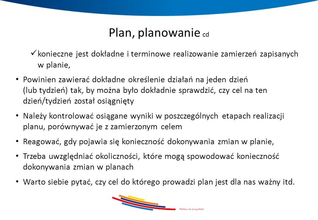 Plan, planowanie cd konieczne jest dokładne i terminowe realizowanie zamierzeń zapisanych w planie, Powinien zawierać dokładne określenie działań na j