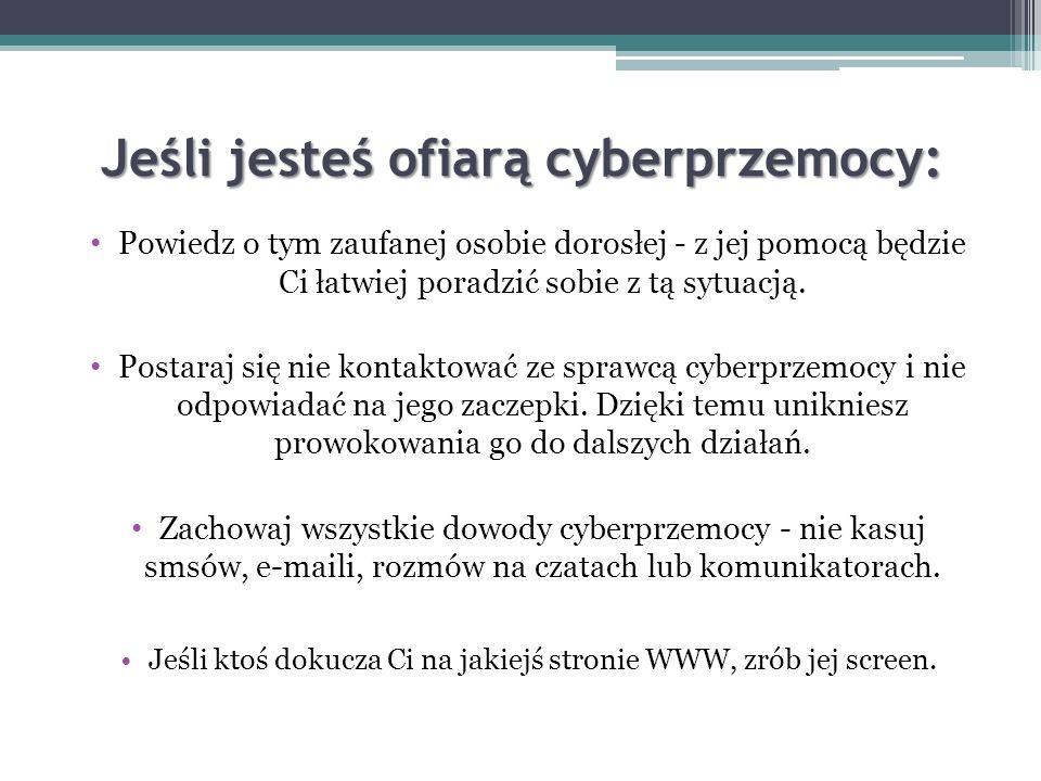 Kary za cyberprzemoc. Cd. Umieszczenie w sieci wizerunku osób poszkodowanych i oczernianie ich. Dodawanie negatywnych komentarzy na ich temat na różne