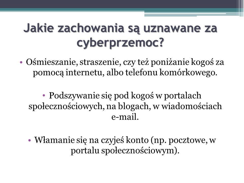 Czym jest cyberprzemoc? Cyberprzemoc Cyberprzemoc (agresja elektroniczna) – stosowanie przemocy poprzez: prześladowanie, zastraszanie, nękanie, wyśmie