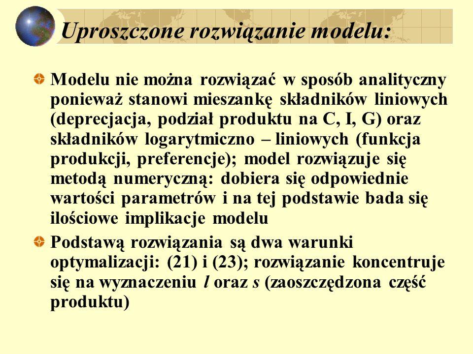 Uproszczone rozwiązanie modelu: Modelu nie można rozwiązać w sposób analityczny ponieważ stanowi mieszankę składników liniowych (deprecjacja, podział