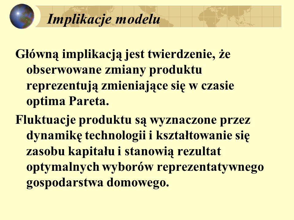 Implikacje modelu Główną implikacją jest twierdzenie, że obserwowane zmiany produktu reprezentują zmieniające się w czasie optima Pareta. Fluktuacje p