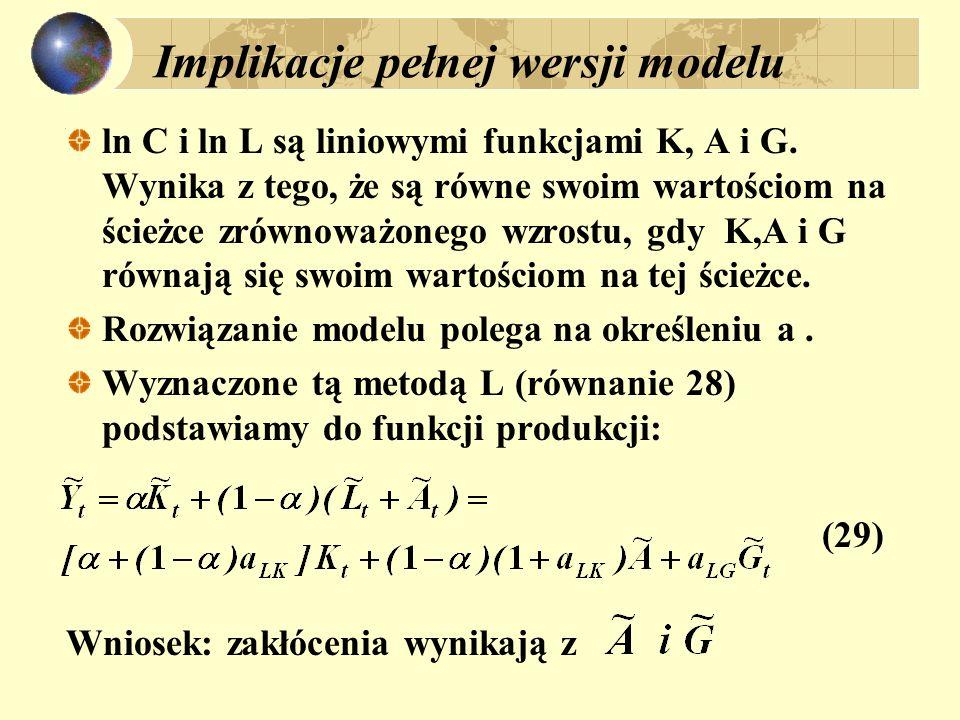 Implikacje pełnej wersji modelu ln C i ln L są liniowymi funkcjami K, A i G. Wynika z tego, że są równe swoim wartościom na ścieżce zrównoważonego wzr