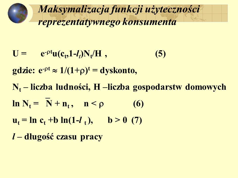 Maksymalizacja funkcji użyteczności reprezentatywnego konsumenta U = e - t u(c t,1-l t )N t /H, (5) gdzie: e - t 1/(1+ ) t = dyskonto, N t – liczba lu