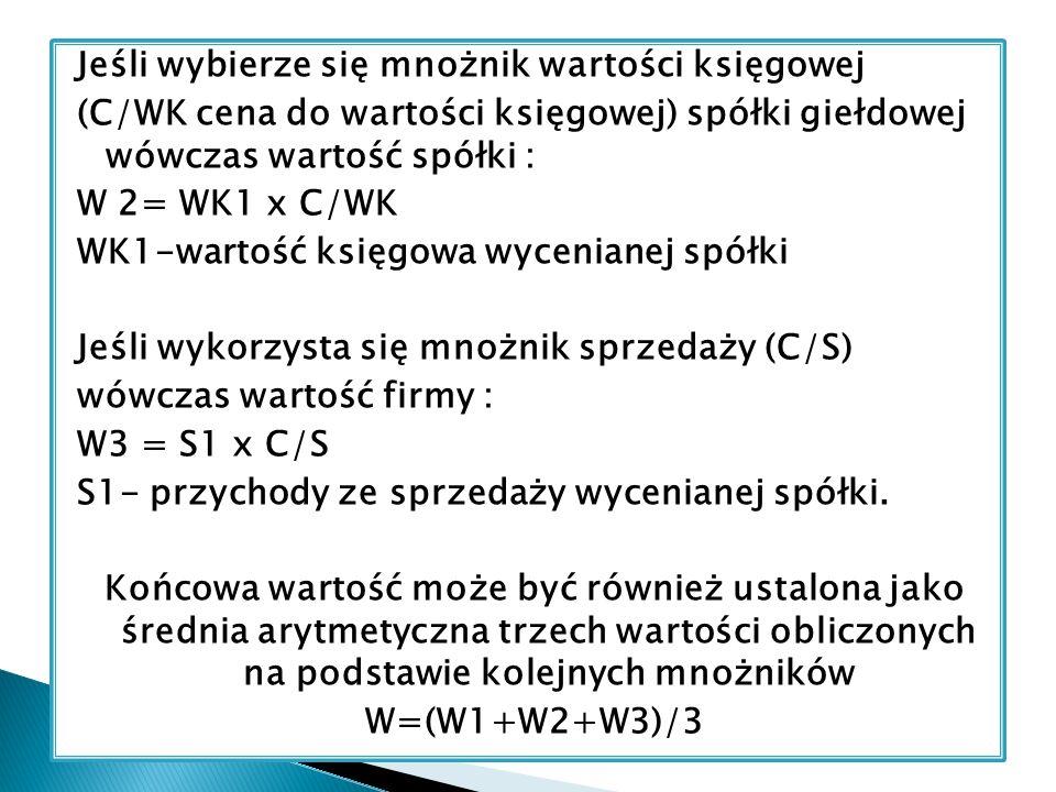 Jeśli wybierze się mnożnik wartości księgowej (C/WK cena do wartości księgowej) spółki giełdowej wówczas wartość spółki : W 2= WK1 x C/WK WK1-wartość