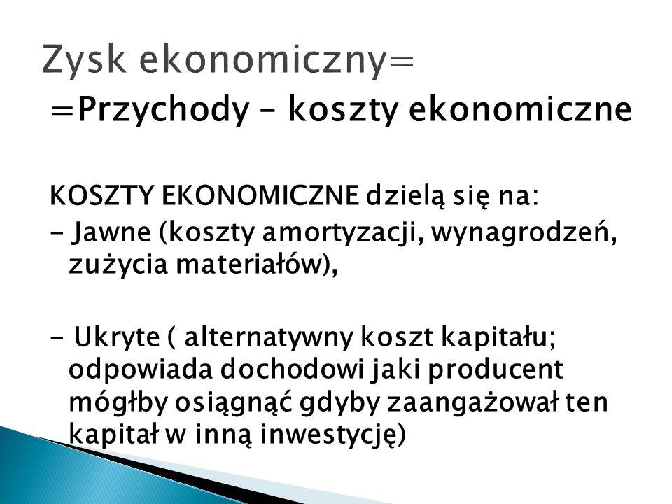 =Przychody – koszty ekonomiczne KOSZTY EKONOMICZNE dzielą się na: - Jawne (koszty amortyzacji, wynagrodzeń, zużycia materiałów), - Ukryte ( alternatyw