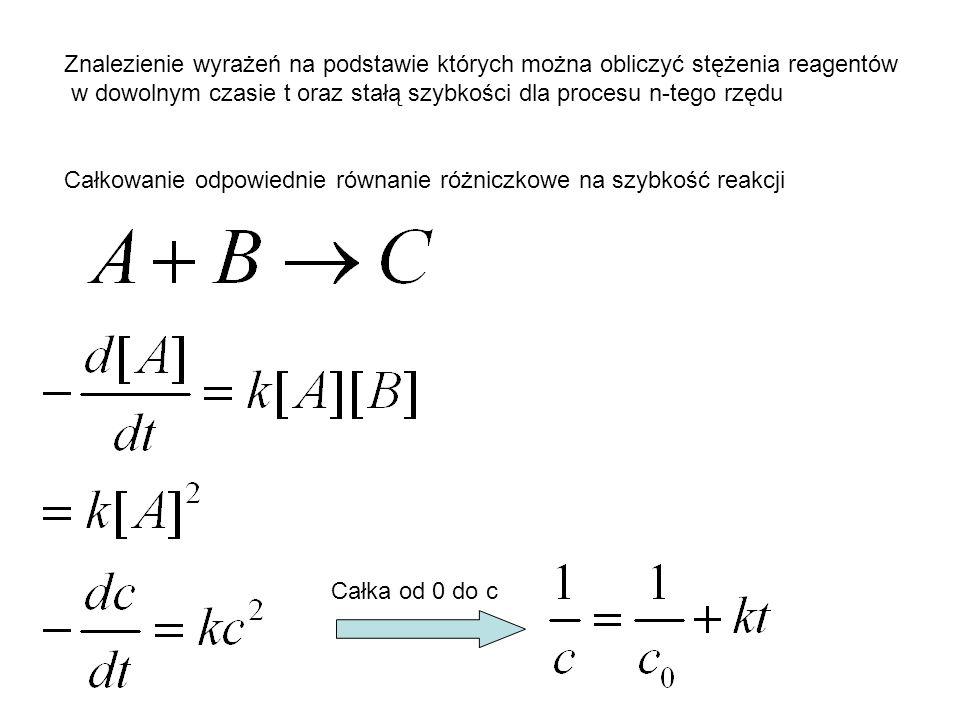 Znalezienie wyrażeń na podstawie których można obliczyć stężenia reagentów w dowolnym czasie t oraz stałą szybkości dla procesu n-tego rzędu Całkowani