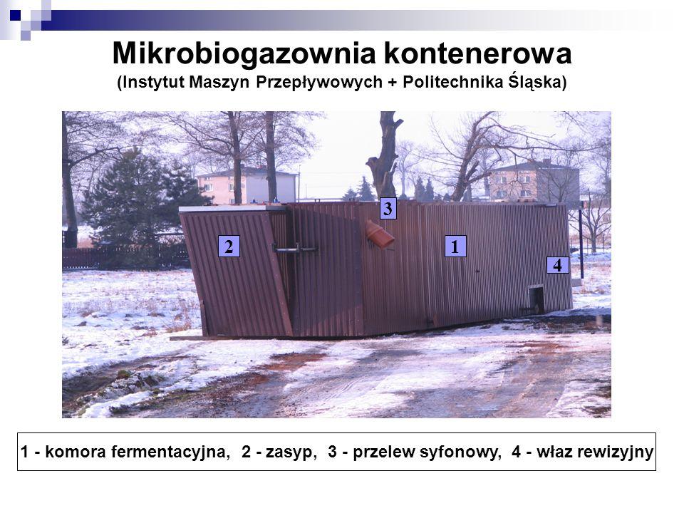 Mikrobiogazownia kontenerowa (Instytut Maszyn Przepływowych + Politechnika Śląska) 1 - komora fermentacyjna, 2 - zasyp, 3 - przelew syfonowy, 4 - właz