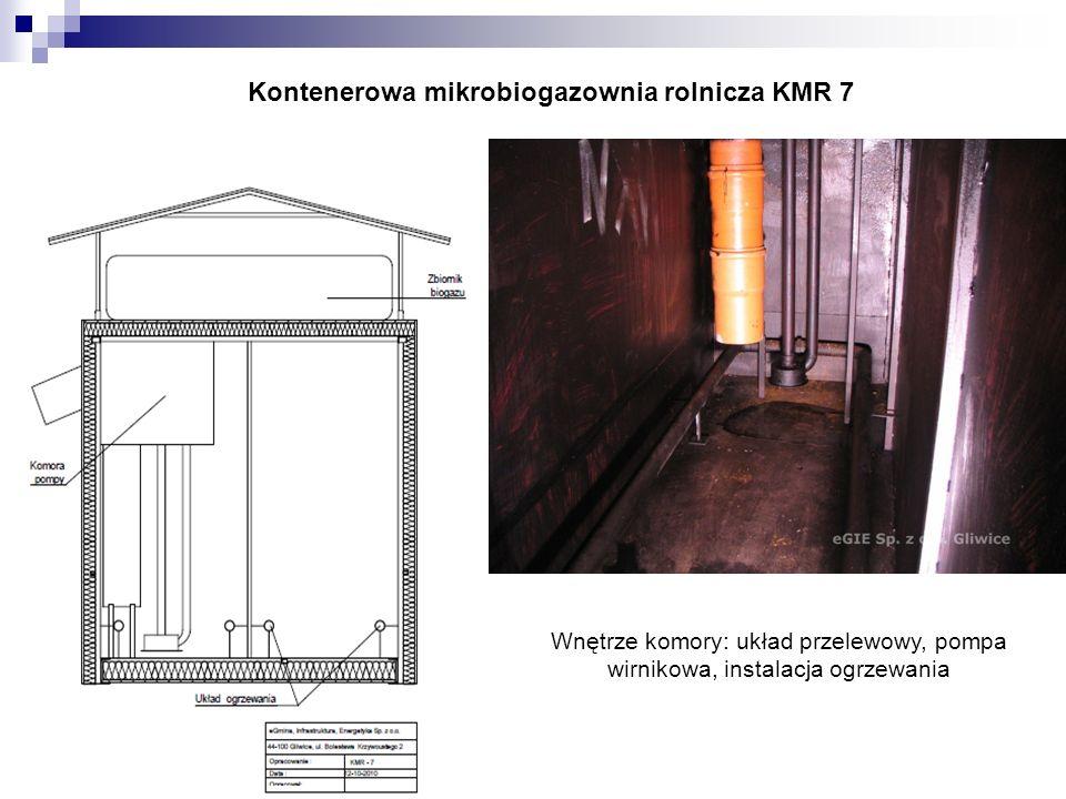 Kontenerowa mikrobiogazownia rolnicza KMR 7 Wnętrze komory: układ przelewowy, pompa wirnikowa, instalacja ogrzewania