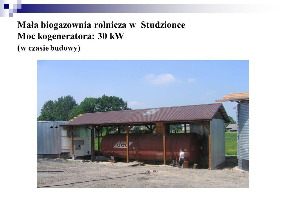 Mała biogazownia rolnicza w Studzionce Moc kogeneratora: 30 kW ( w czasie budowy)