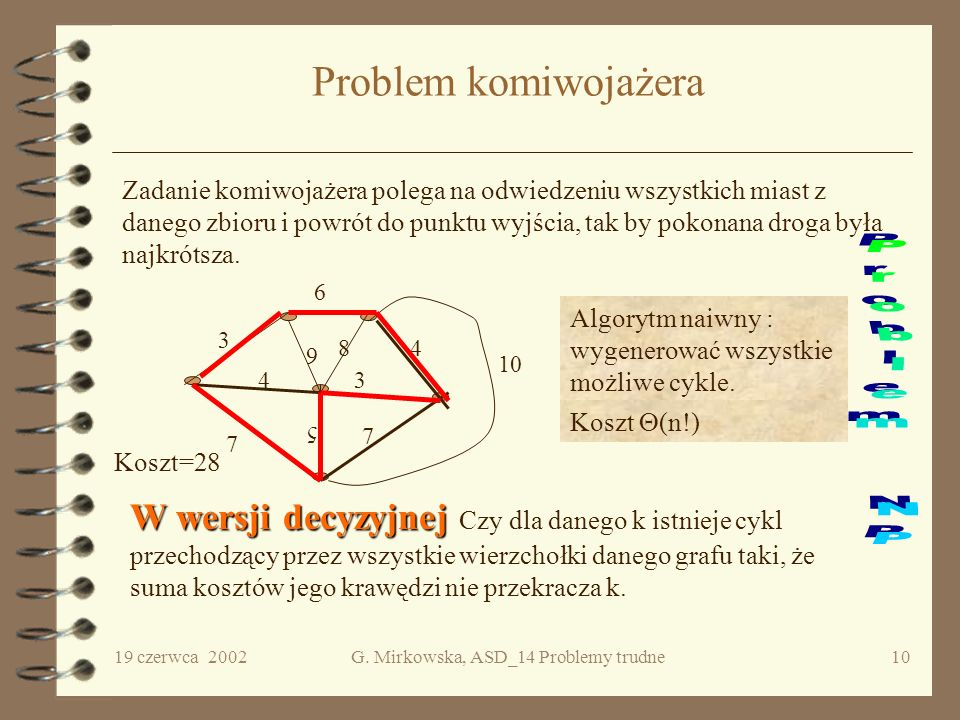 19 czerwca 2002G. Mirkowska, ASD_14 Problemy trudne9 Klasyfikacja problemów decyzyjnych P P - klasa problemów decyzyjnych rozwiązywalnych w czasie wie