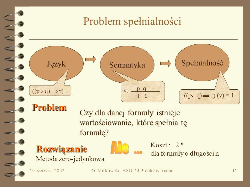 19 czerwca 2002G. Mirkowska, ASD_14 Problemy trudne10 Problem komiwojażera Zadanie komiwojażera polega na odwiedzeniu wszystkich miast z danego zbioru