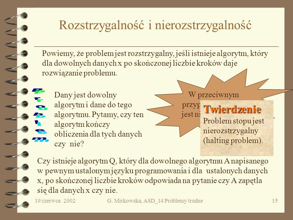 19 czerwca 2002G. Mirkowska, ASD_14 Problemy trudne14 Wszystko albo nic Twierdzenie. Twierdzenie. Gdyby jakiś NP-zupełny problem należał do klasy P, t