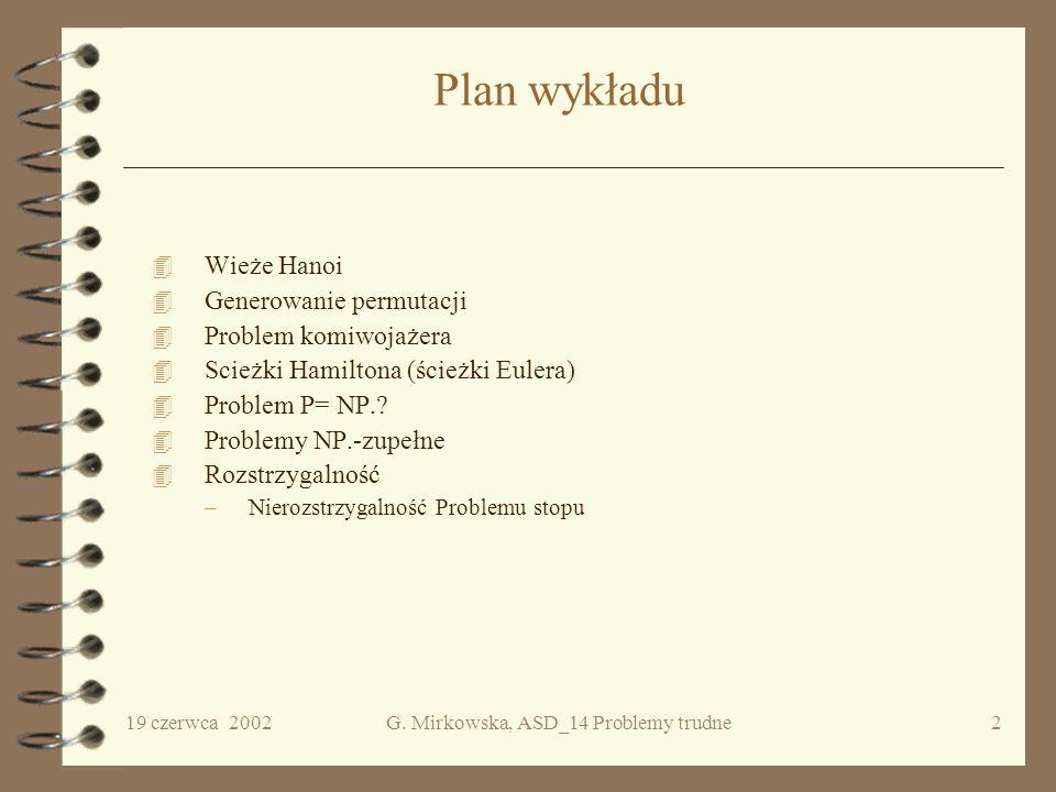 ALGORYTMY I STRUKTURY DANYCH WYKŁAD 14 Problemy trudne informatyki Grażyna Mirkowska PJWSTK ITN, semestr letni 2002