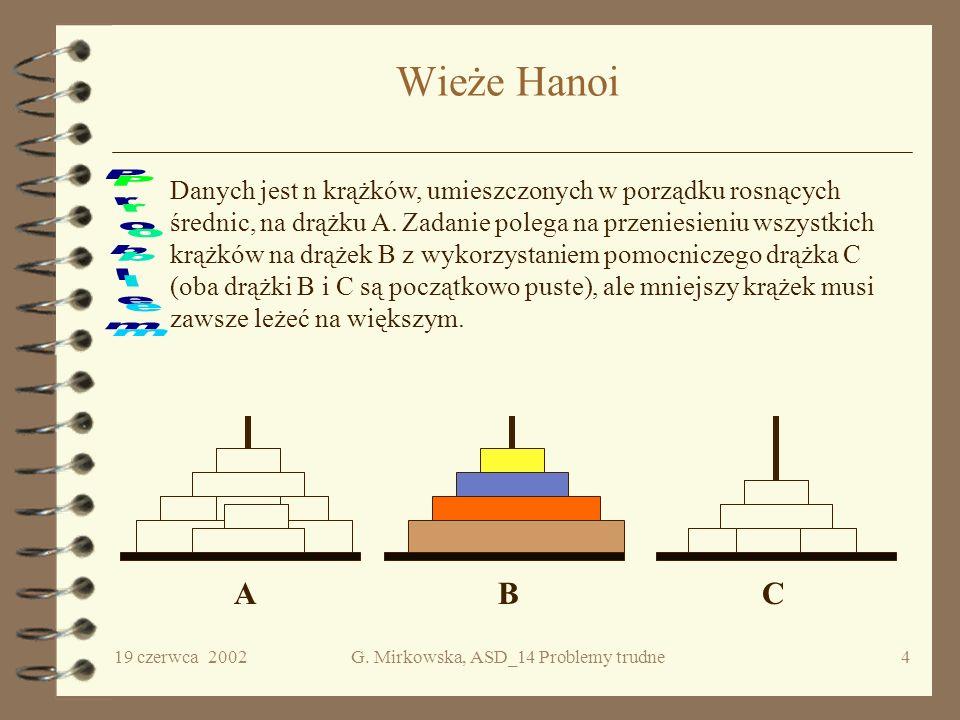 19 czerwca 2002G. Mirkowska, ASD_14 Problemy trudne3 Przypomnienie Powiemy, że problem jest wielomianowy, tzn. jest rozwiązywalny w czasie wielomianow