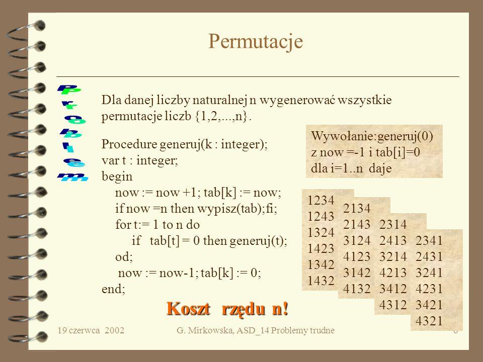 19 czerwca 2002G. Mirkowska, ASD_14 Problemy trudne5 Algorytm Procedure przenies(n, A,B, C); {przenieś n krążków z A na B wykorzystując C} begin if (n