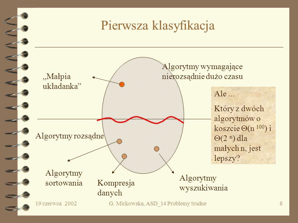 19 czerwca 2002G. Mirkowska, ASD_14 Problemy trudne7 Problemy decyzyjne Problem, którego rozwiązanie ma dawać odpowiedź binarną tak lub nie nazywać bę