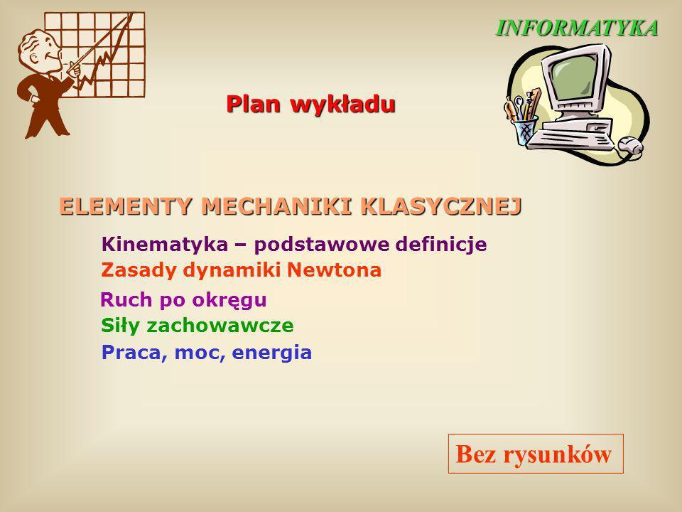 Plan wykładu Kinematyka – podstawowe definicje Zasady dynamiki Newtona Ruch po okręgu Siły zachowawcze Praca, moc, energia ELEMENTY MECHANIKI KLASYCZN
