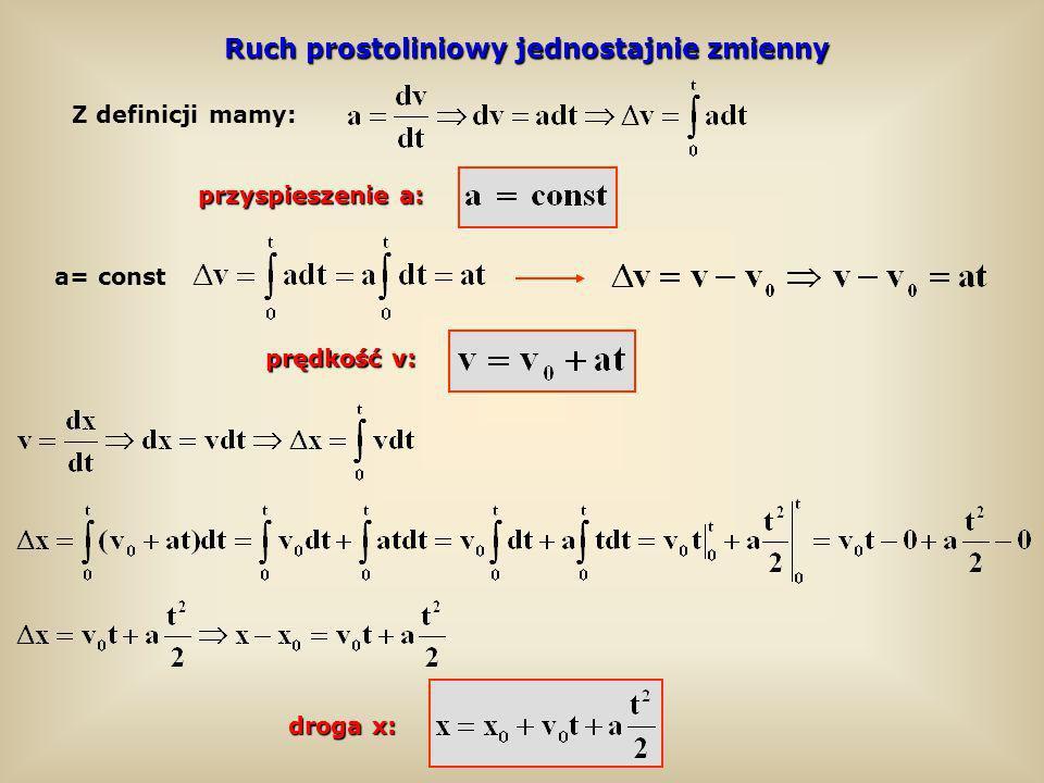 Ruch prostoliniowy jednostajnie zmienny prędkość v: droga x: a= const Z definicji mamy: przyspieszenie a: