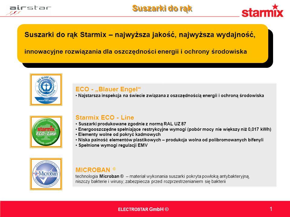 ECO - Blauer Engel Najstarsza inspekcja na świecie związana z oszczędnością energii i ochroną środowiska Starmix ECO - Line Suszarki produkowane zgodnie z normą RAL UZ 87 Energooszczędne spełniające restrykcyjne wymogi (pobór mocy nie większy niż 0,017 kWh) Elementy wolne od pokryć kadmowych Niska palność elementów plastikowych – produkcja wolna od polibromowanych bifenyli Spełnione wymogi regulacji EMV MICROBAN ® technologia Microban ® – materiał wykonania suszarki pokryta powłoką antybakteryjną, niszczy bakterie i wirusy; zabezpiecza przed rozprzestrzenianiem się bakterii ELECTROSTAR GmbH © Suszarki do rąk 1 Suszarki do rąk Starmix – najwyższa jakość, najwyższa wydajność, innowacyjne rozwiązania dla oszczędności energii i ochrony środowiska