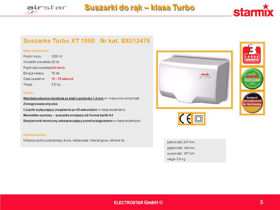 Suszarka Turbo XT 1000 Nr kat.